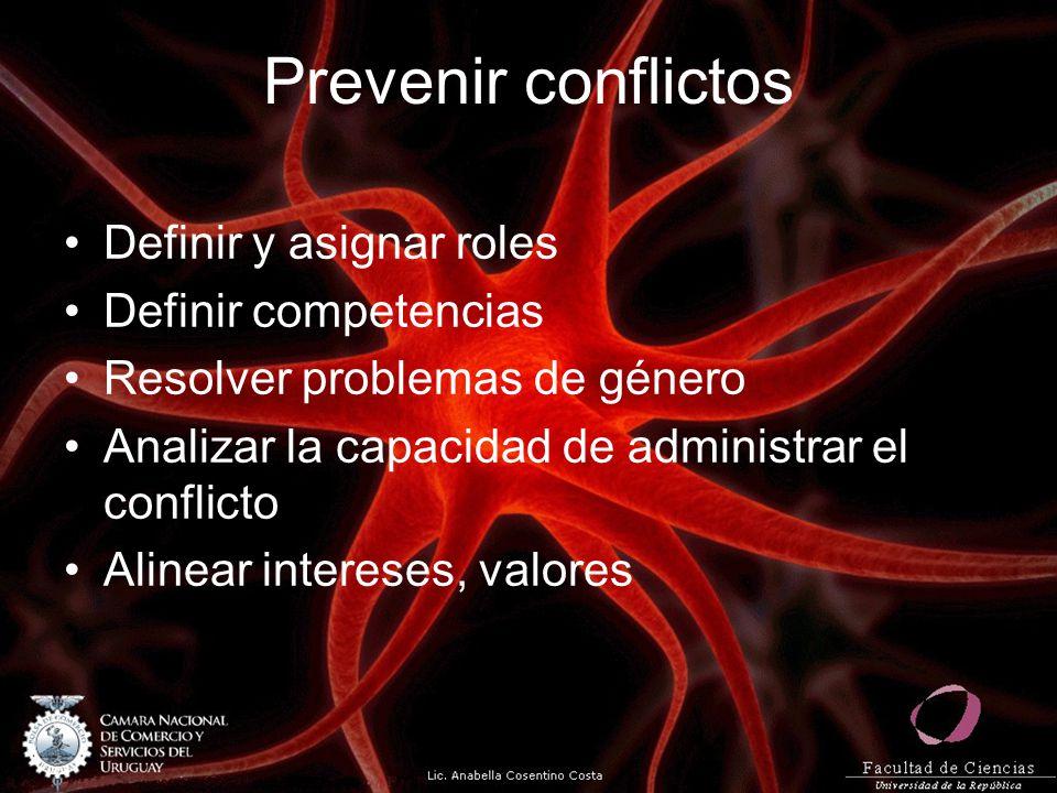 Prevenir conflictos Definir y asignar roles Definir competencias Resolver problemas de género Analizar la capacidad de administrar el conflicto Alinea