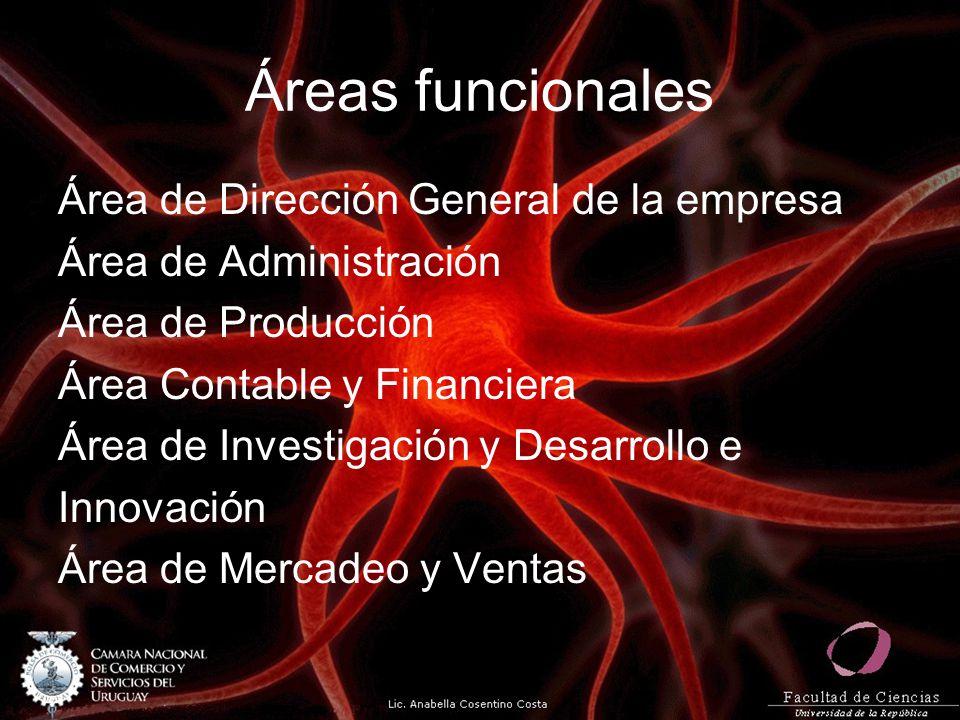Áreas funcionales Área de Dirección General de la empresa Área de Administración Área de Producción Área Contable y Financiera Área de Investigación y