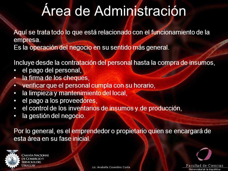 Área de Administración Aquí se trata todo lo que está relacionado con el funcionamiento de la empresa. Es la operación del negocio en su sentido más g
