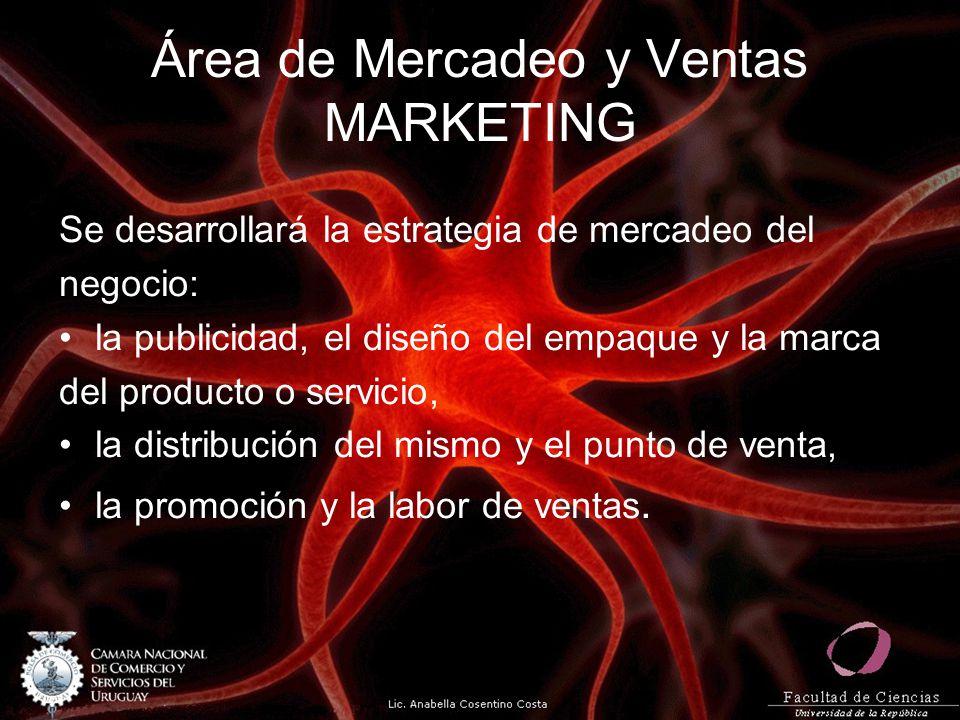 Área de Mercadeo y Ventas MARKETING Se desarrollará la estrategia de mercadeo del negocio: la publicidad, el diseño del empaque y la marca del product