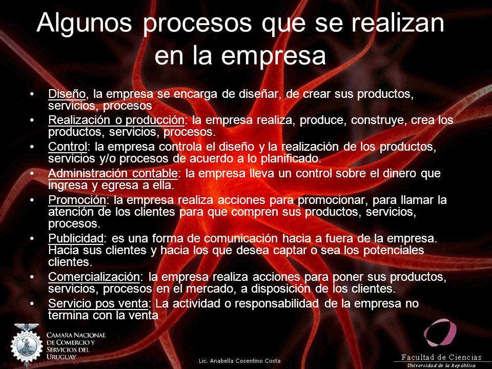 Algunos procesos que se realizan en la empresa Diseño, la empresa se encarga de diseñar, de crear sus productos, servicios, procesos Realización o pro