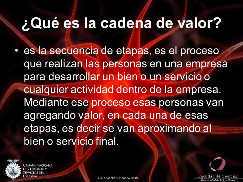 ¿Qué es la cadena de valor? es la secuencia de etapas, es el proceso que realizan las personas en una empresa para desarrollar un bien o un servicio o