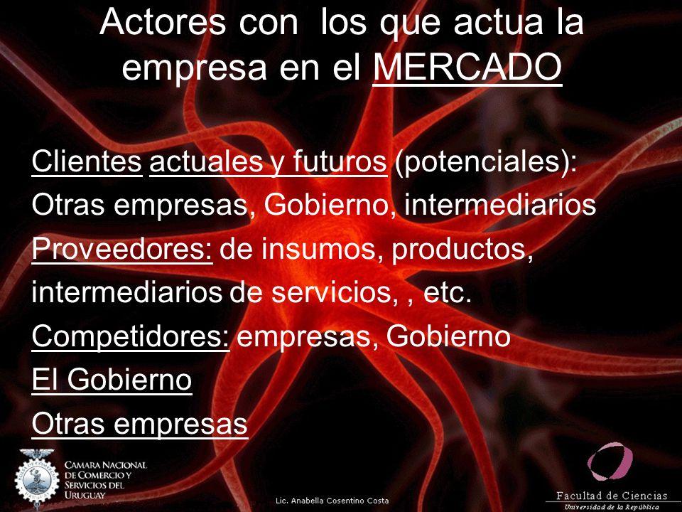 Actores con los que actua la empresa en el MERCADO Clientes actuales y futuros (potenciales): Otras empresas, Gobierno, intermediarios Proveedores: de