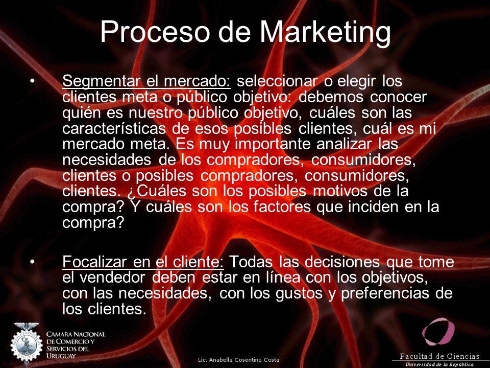 Proceso de Marketing Segmentar el mercado: seleccionar o elegir los clientes meta o público objetivo: debemos conocer quién es nuestro público objetiv