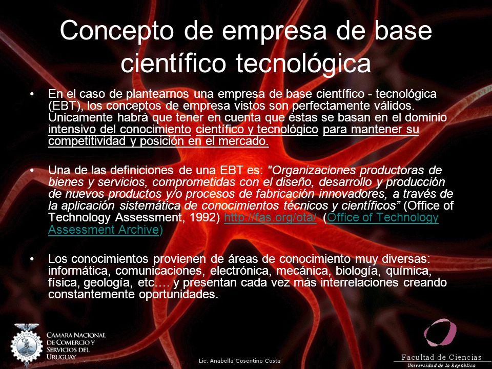 Concepto de empresa de base científico tecnológica En el caso de plantearnos una empresa de base científico - tecnológica (EBT), los conceptos de empr