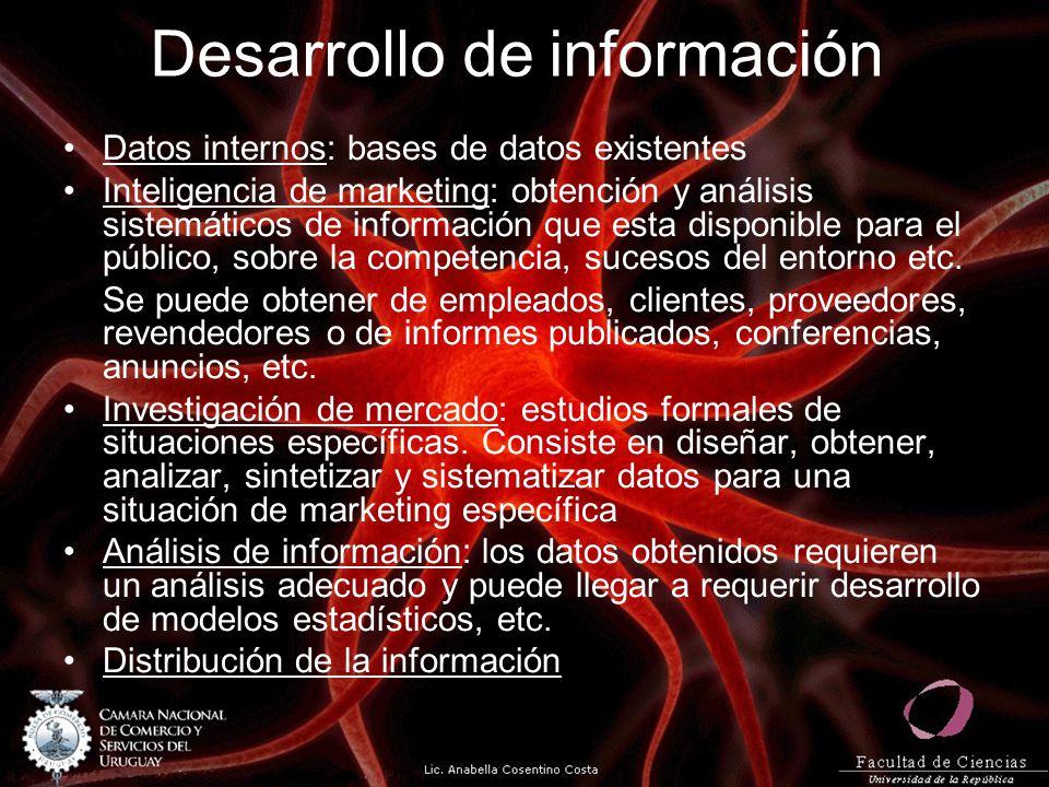 Desarrollo de información Datos internos: bases de datos existentes Inteligencia de marketing: obtención y análisis sistemáticos de información que es