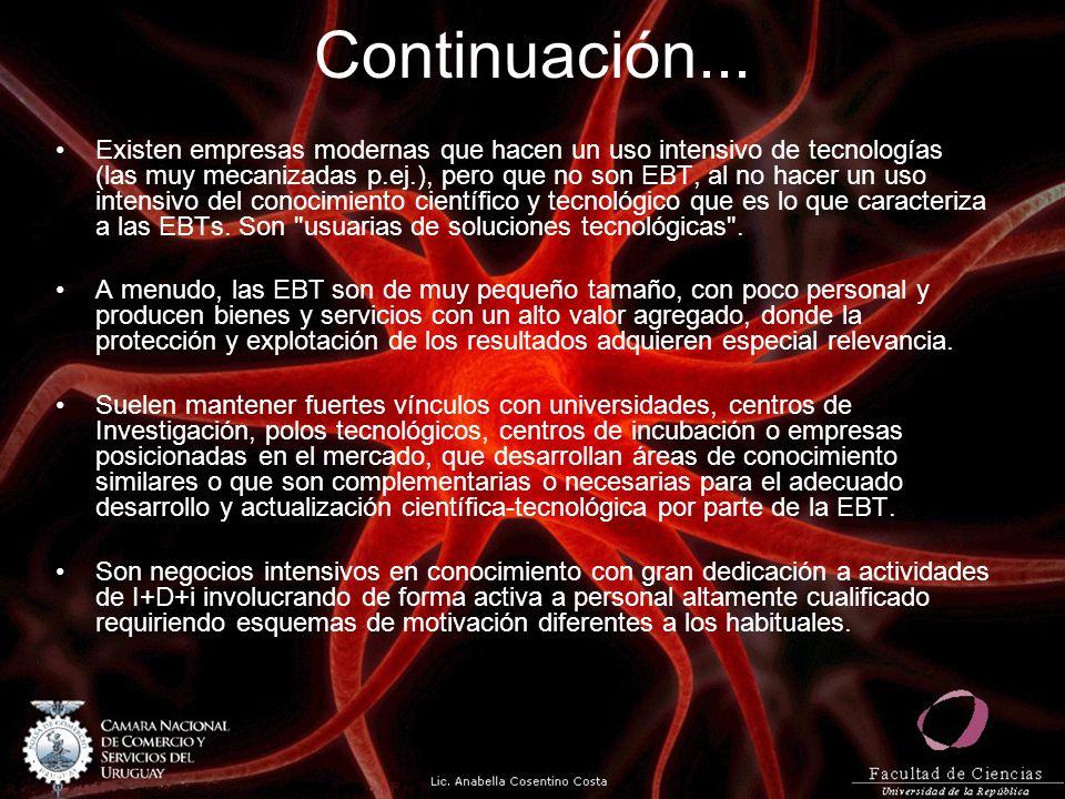 Continuación... Existen empresas modernas que hacen un uso intensivo de tecnologías (las muy mecanizadas p.ej.), pero que no son EBT, al no hacer un u