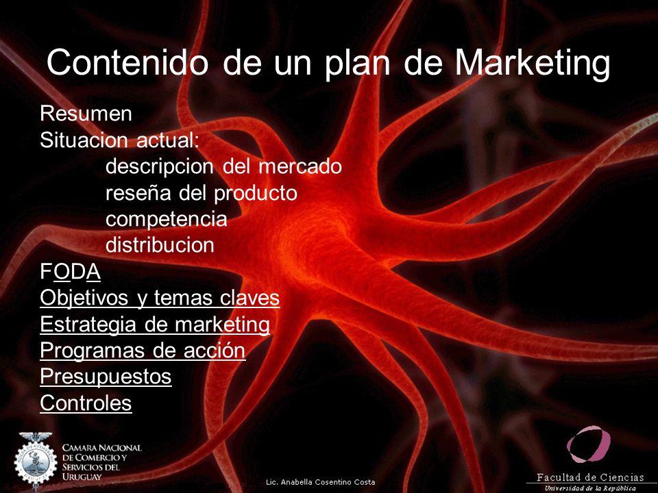 Contenido de un plan de Marketing Resumen Situacion actual: descripcion del mercado reseña del producto competencia distribucion FODA Objetivos y tema