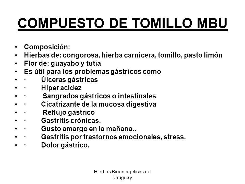 Hierbas Bioenergéticas del Uruguay COMPUESTO DE TOMILLO MBU Composición: Hierbas de: congorosa, hierba carnicera, tomillo, pasto limón Flor de: guayab