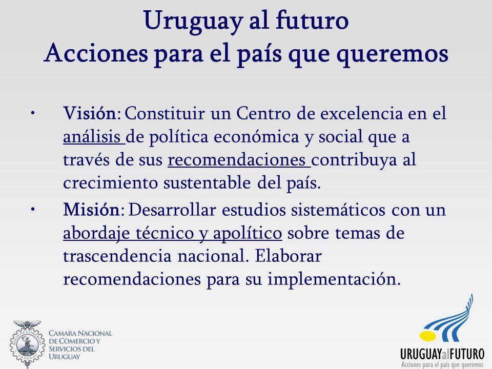 Uruguay al futuro Acciones para el país que queremos Visión: Constituir un Centro de excelencia en el análisis de política económica y social que a través de sus recomendaciones contribuya al crecimiento sustentable del país.