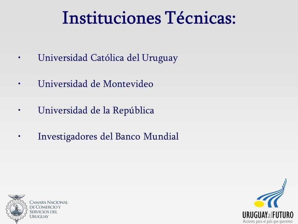 Instituciones Técnicas: Universidad Católica del Uruguay Universidad de Montevideo Universidad de la República Investigadores del Banco Mundial