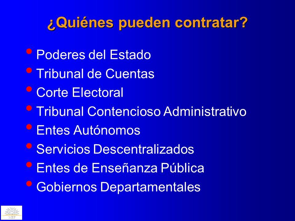 MEF ¿Quiénes pueden contratar? Poderes del Estado Tribunal de Cuentas Corte Electoral Tribunal Contencioso Administrativo Entes Autónomos Servicios De