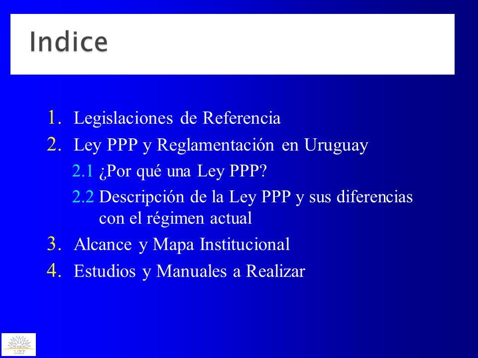 MEF 1. Legislaciones de Referencia 2. Ley PPP y Reglamentación en Uruguay 2.1 ¿Por qué una Ley PPP? 2.2 Descripción de la Ley PPP y sus diferencias co