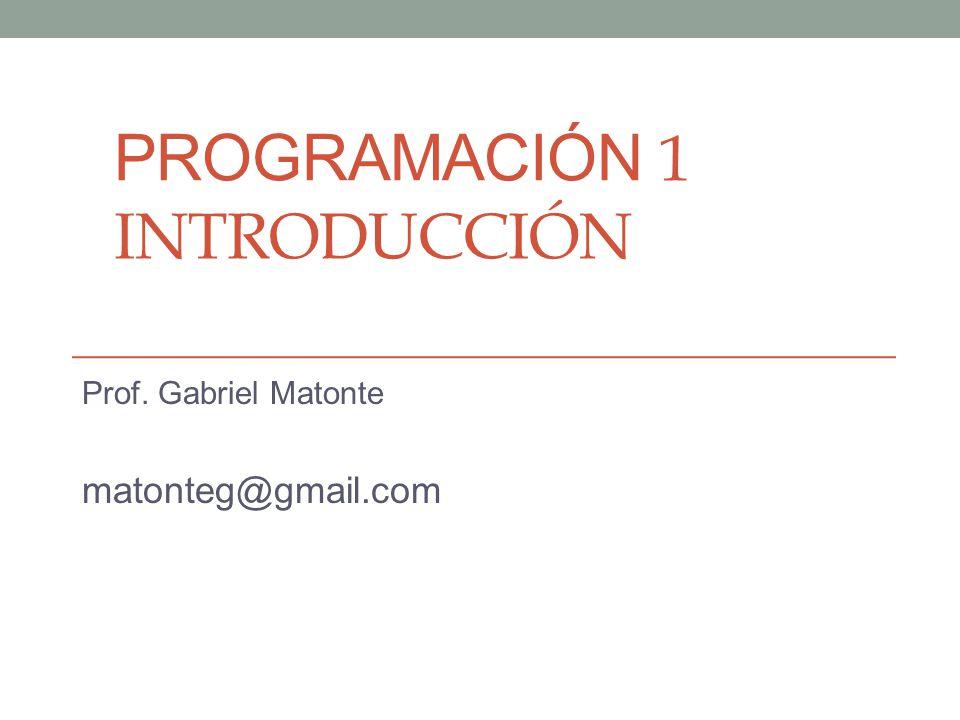 PROGRAMACIÓN 1 INTRODUCCIÓN Prof. Gabriel Matonte matonteg@gmail.com