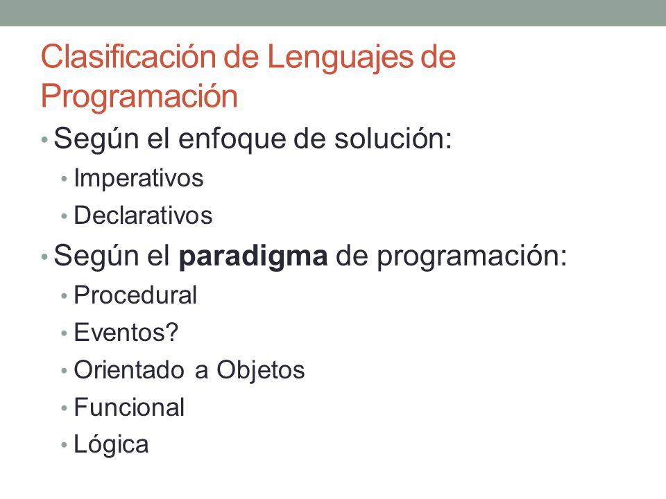 Clasificación de Lenguajes de Programación Según el enfoque de solución: Imperativos Declarativos Según el paradigma de programación: Procedural Event