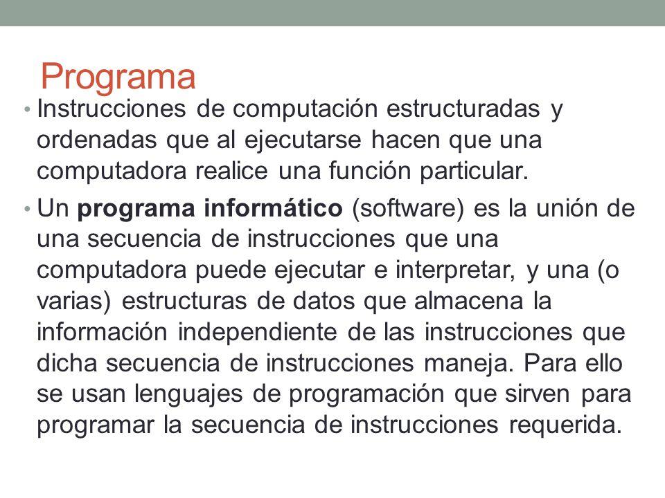 Programa Instrucciones de computación estructuradas y ordenadas que al ejecutarse hacen que una computadora realice una función particular. Un program