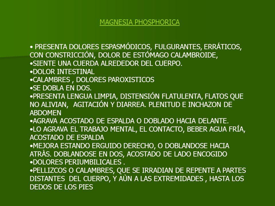 MAGNESIA PHOSPHORICA PRESENTA DOLORES ESPASMÓDICOS, FULGURANTES, ERRÁTICOS, CON CONSTRICCIÓN, DOLOR DE ESTÓMAGO CALAMBROIDE, SIENTE UNA CUERDA ALREDED