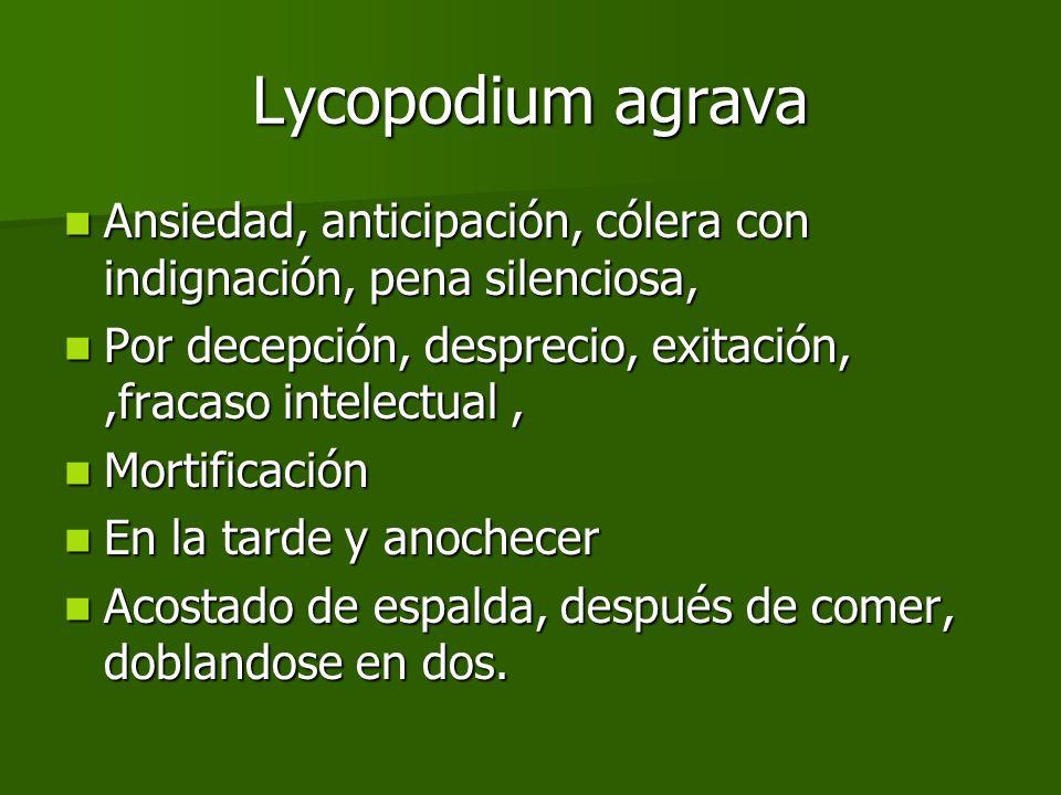 Lycopodium agrava Ansiedad, anticipación, cólera con indignación, pena silenciosa, Ansiedad, anticipación, cólera con indignación, pena silenciosa, Po