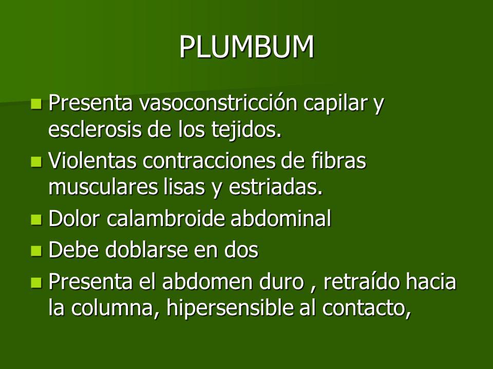 PLUMBUM Presenta vasoconstricción capilar y esclerosis de los tejidos. Presenta vasoconstricción capilar y esclerosis de los tejidos. Violentas contra