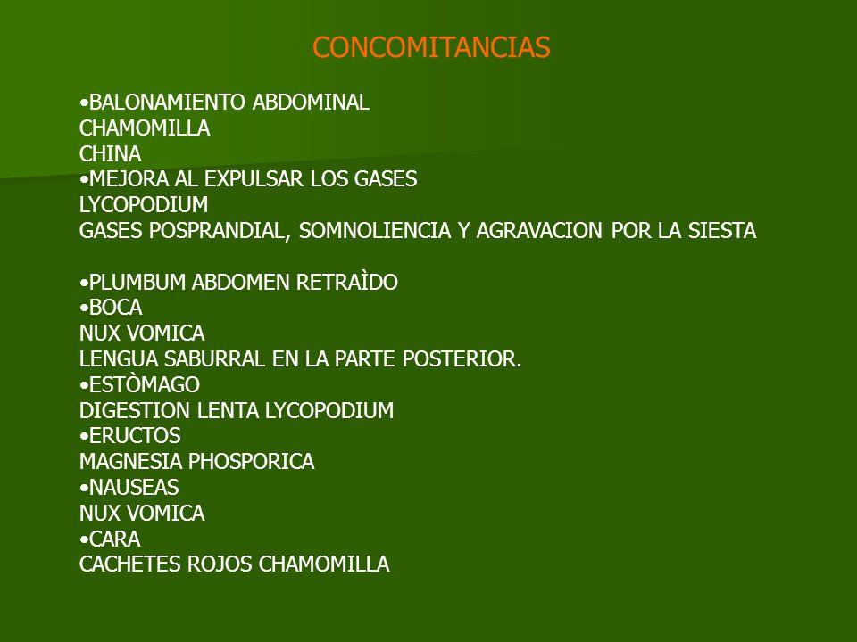 CONCOMITANCIAS BALONAMIENTO ABDOMINAL CHAMOMILLA CHINA MEJORA AL EXPULSAR LOS GASES LYCOPODIUM GASES POSPRANDIAL, SOMNOLIENCIA Y AGRAVACION POR LA SIESTA PLUMBUM ABDOMEN RETRAÌDO BOCA NUX VOMICA LENGUA SABURRAL EN LA PARTE POSTERIOR.