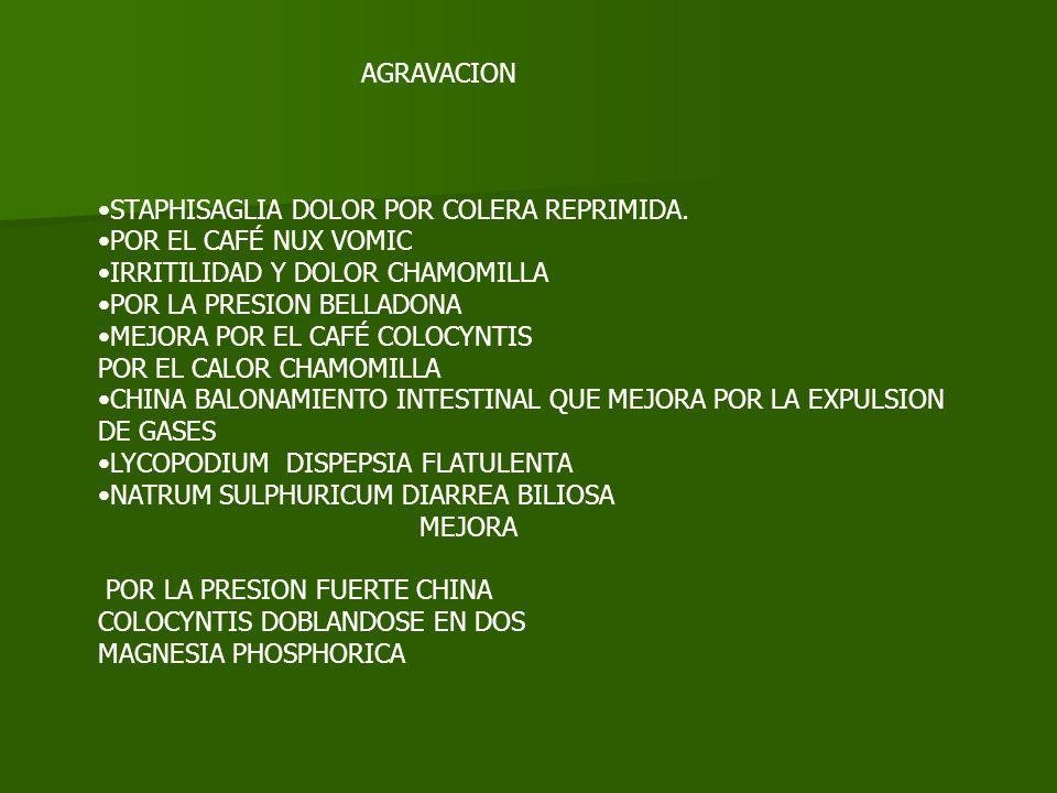 AGRAVACION STAPHISAGLIA DOLOR POR COLERA REPRIMIDA. POR EL CAFÉ NUX VOMIC IRRITILIDAD Y DOLOR CHAMOMILLA POR LA PRESION BELLADONA MEJORA POR EL CAFÉ C