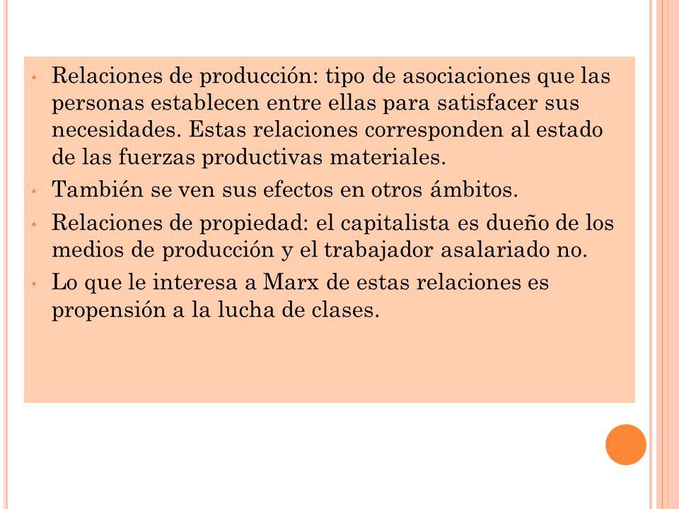Relaciones de producción: tipo de asociaciones que las personas establecen entre ellas para satisfacer sus necesidades.