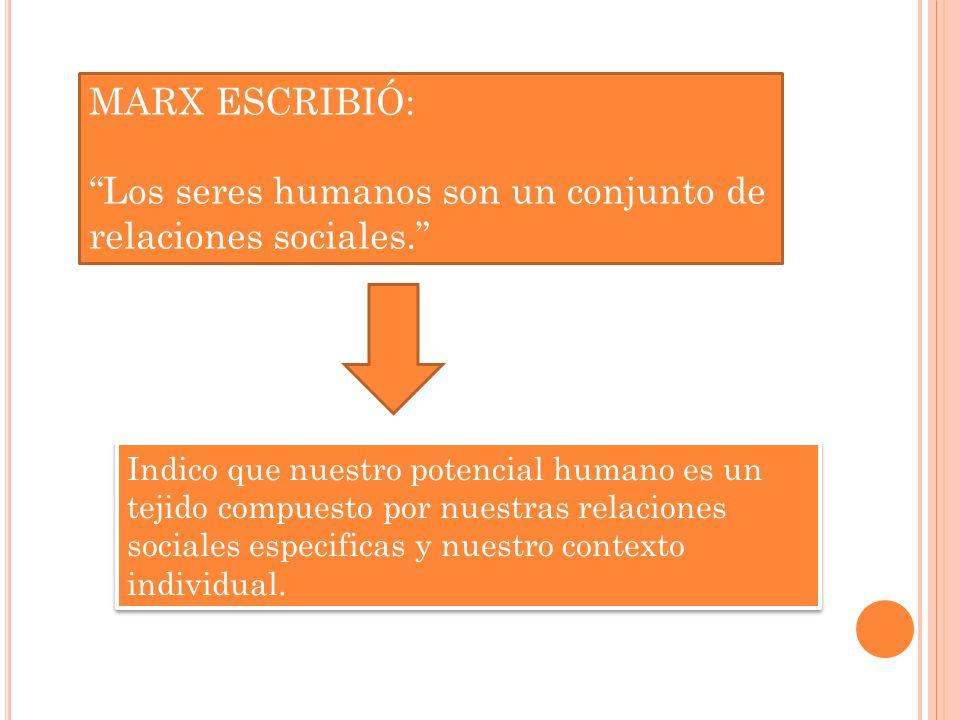 MARX ESCRIBIÓ: Los seres humanos son un conjunto de relaciones sociales.