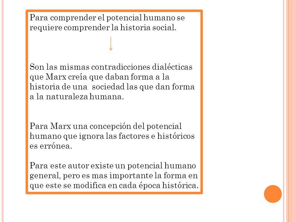 Para comprender el potencial humano se requiere comprender la historia social.