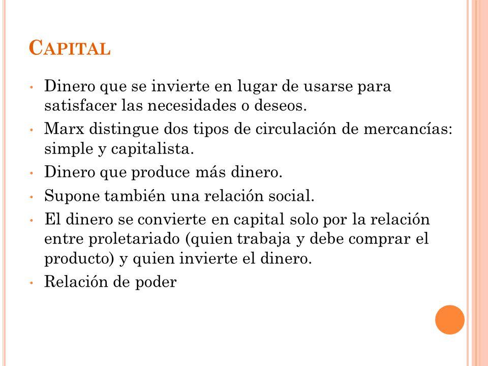 C APITAL Dinero que se invierte en lugar de usarse para satisfacer las necesidades o deseos.