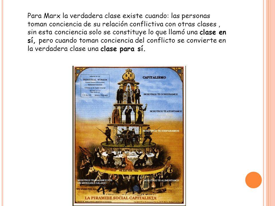 Para Marx la verdadera clase existe cuando: las personas toman conciencia de su relación conflictiva con otras clases, sin esta conciencia solo se constituye lo que llamó una clase en sí, pero cuando toman conciencia del conflicto se convierte en la verdadera clase una clase para sí.