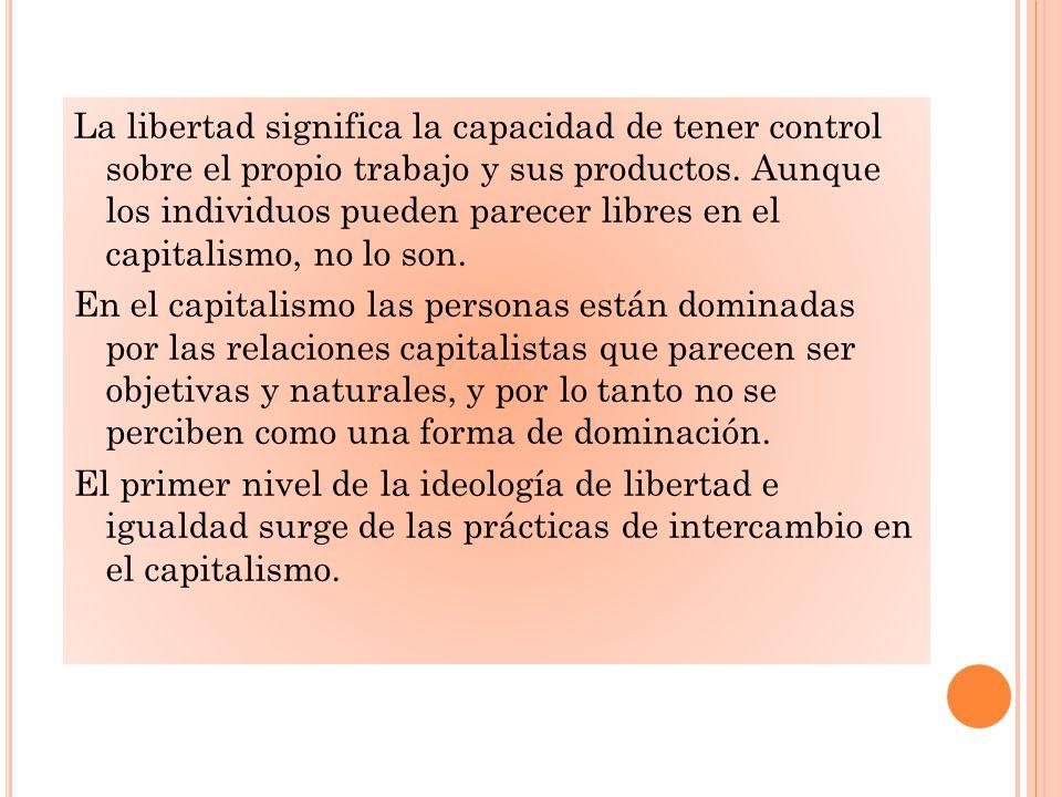 La libertad significa la capacidad de tener control sobre el propio trabajo y sus productos.