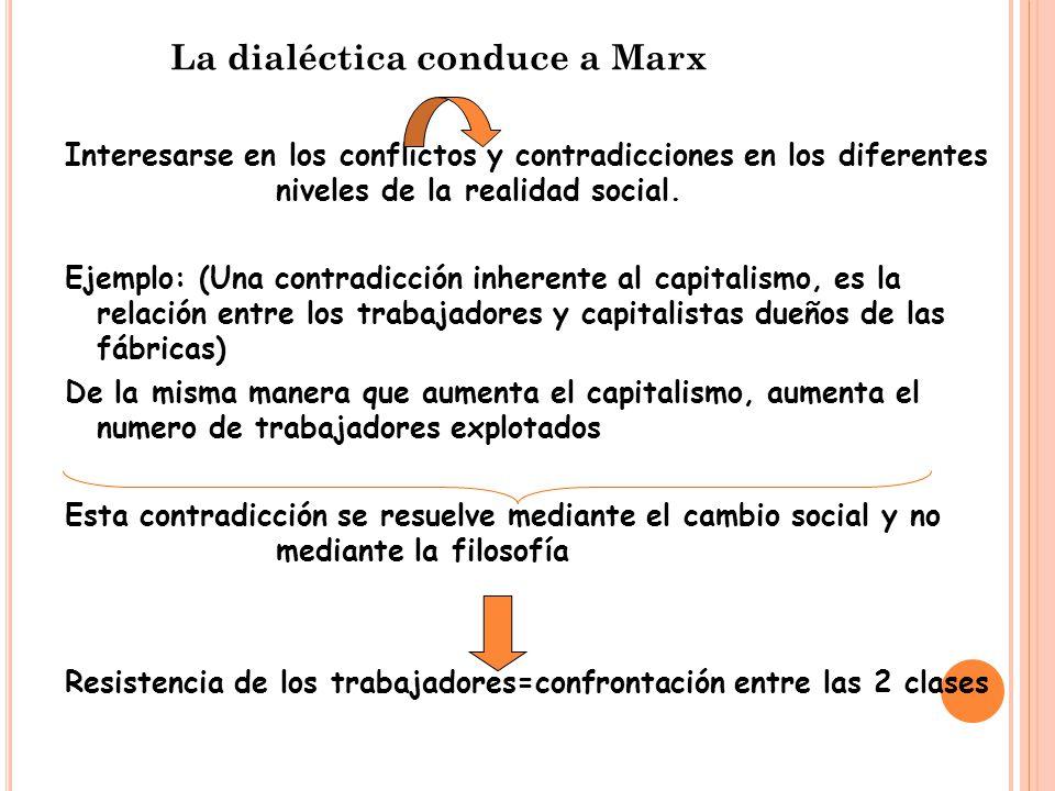 La dialéctica conduce a Marx Interesarse en los conflictos y contradicciones en los diferentes niveles de la realidad social.