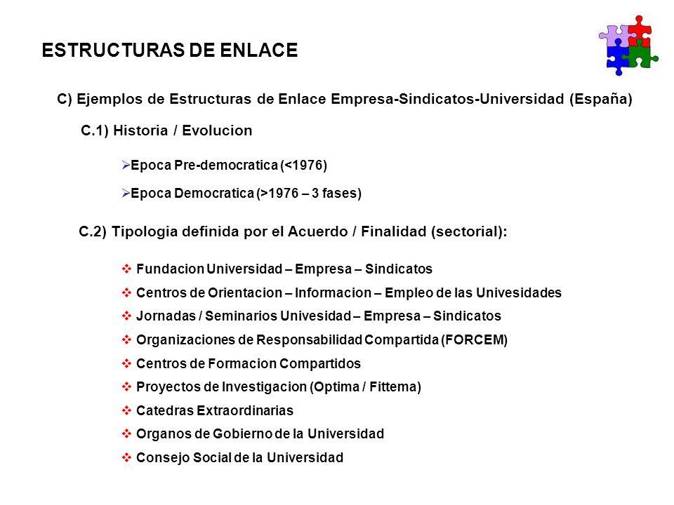 ESTRUCTURAS DE ENLACE C) Ejemplos de Estructuras de Enlace Empresa-Sindicatos-Universidad (España) C.2) Tipologia definida por el Acuerdo / Finalidad