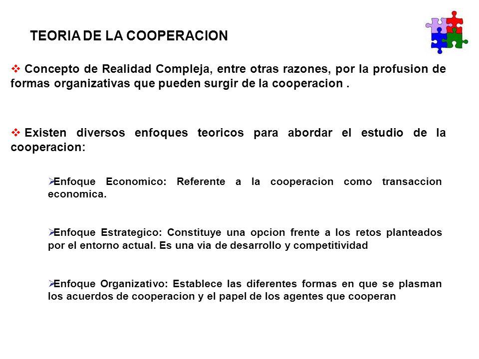 TEORIA DE LA COOPERACION Concepto de Realidad Compleja, entre otras razones, por la profusion de formas organizativas que pueden surgir de la cooperac