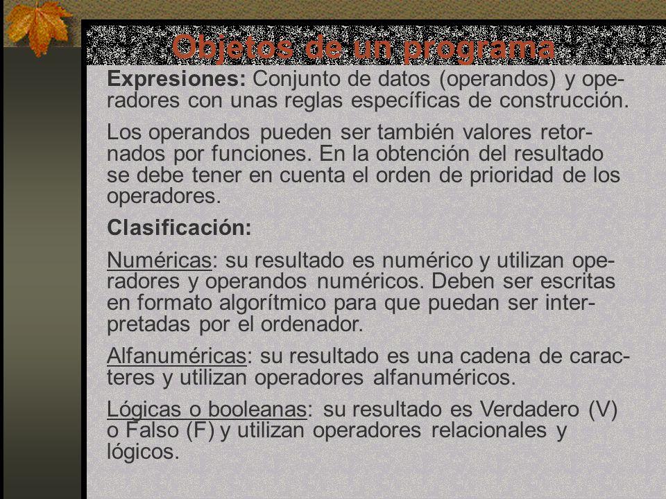 Objetos de un programa Expresiones: Conjunto de datos (operandos) y ope- radores con unas reglas específicas de construcción.
