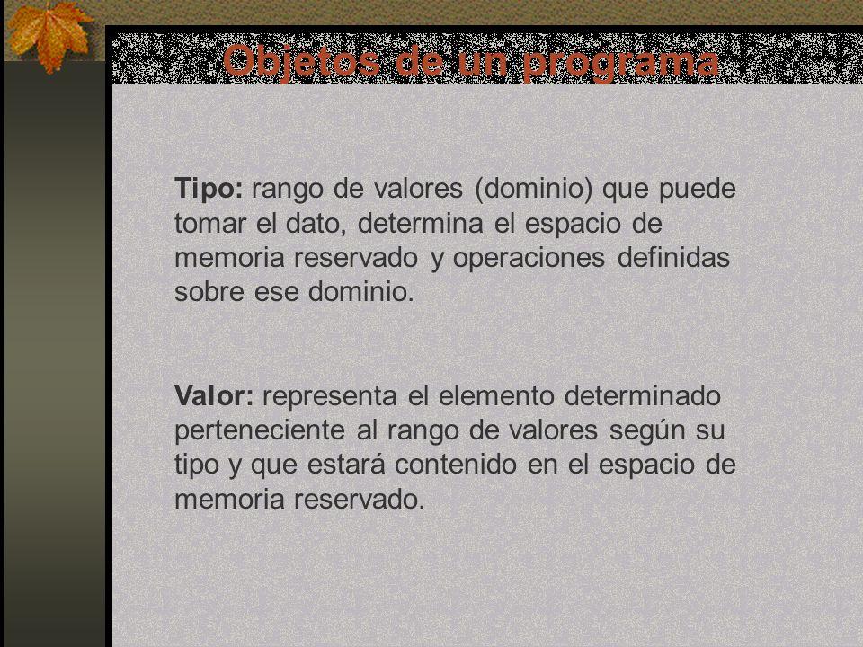 Objetos de un programa Datos básicos c.Lógico: Se utiliza para representar dos valores distintos: Verdadero o Falso.