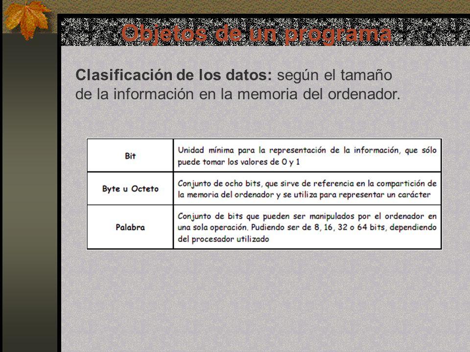 Objetos de un programa Clasificación de los datos: según el tamaño de la información en la memoria del ordenador.