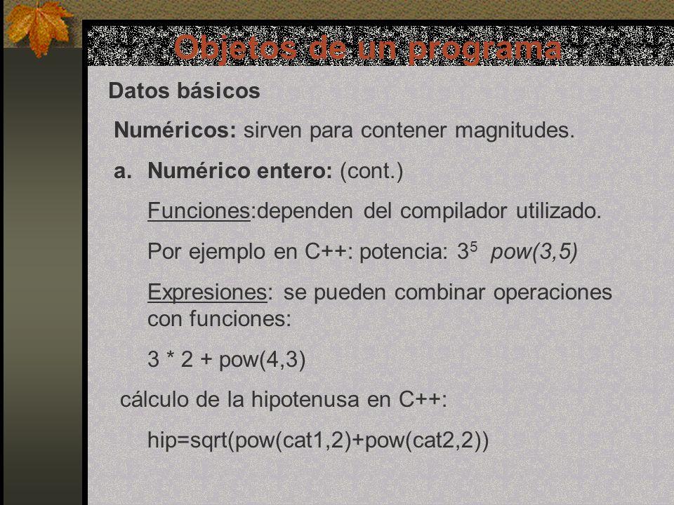 Objetos de un programa Constantes y variables Variables: Son datos cuya información puede ser variable durante la ejecución del programa.