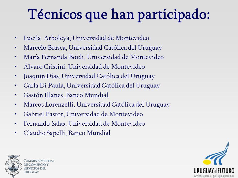 Técnicos que han participado: Lucila Arboleya, Universidad de Montevideo Marcelo Brasca, Universidad Católica del Uruguay María Fernanda Boidi, Univer