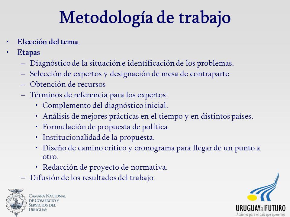 Metodología de trabajo Elección del tema. Etapas –Diagnóstico de la situación e identificación de los problemas. –Selección de expertos y designación