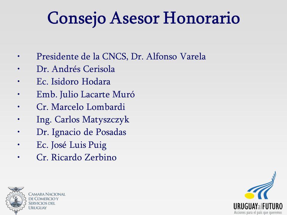 Consejo Asesor Honorario Presidente de la CNCS, Dr. Alfonso Varela Dr. Andrés Cerisola Ec. Isidoro Hodara Emb. Julio Lacarte Muró Cr. Marcelo Lombardi