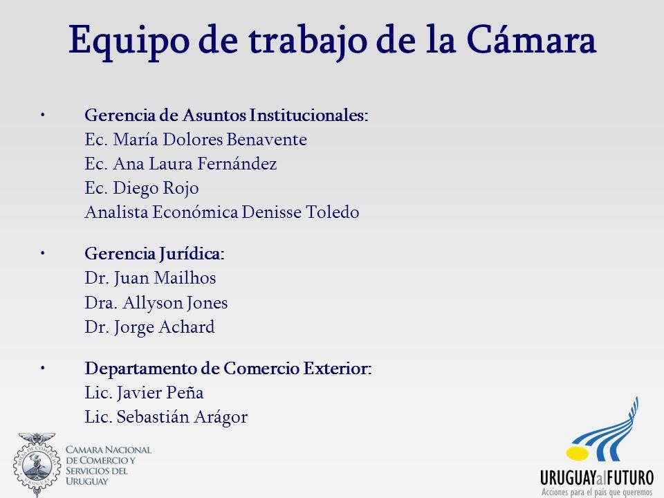 Equipo de trabajo de la Cámara Gerencia de Asuntos Institucionales: Ec. María Dolores Benavente Ec. Ana Laura Fernández Ec. Diego Rojo Analista Económ