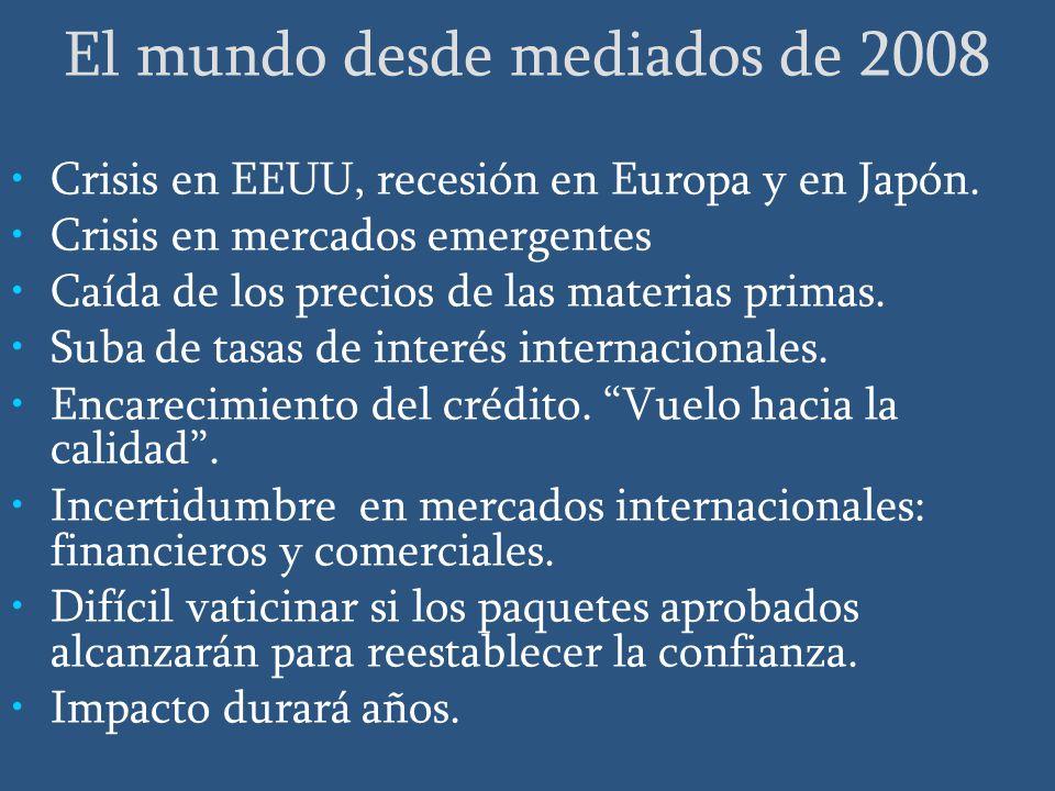 El mundo desde mediados de 2008 Crisis en EEUU, recesión en Europa y en Japón.