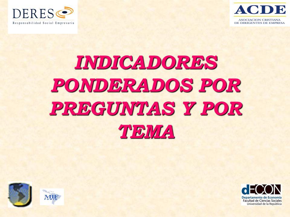 INDICADORES PONDERADOS POR PREGUNTAS Y POR TEMA