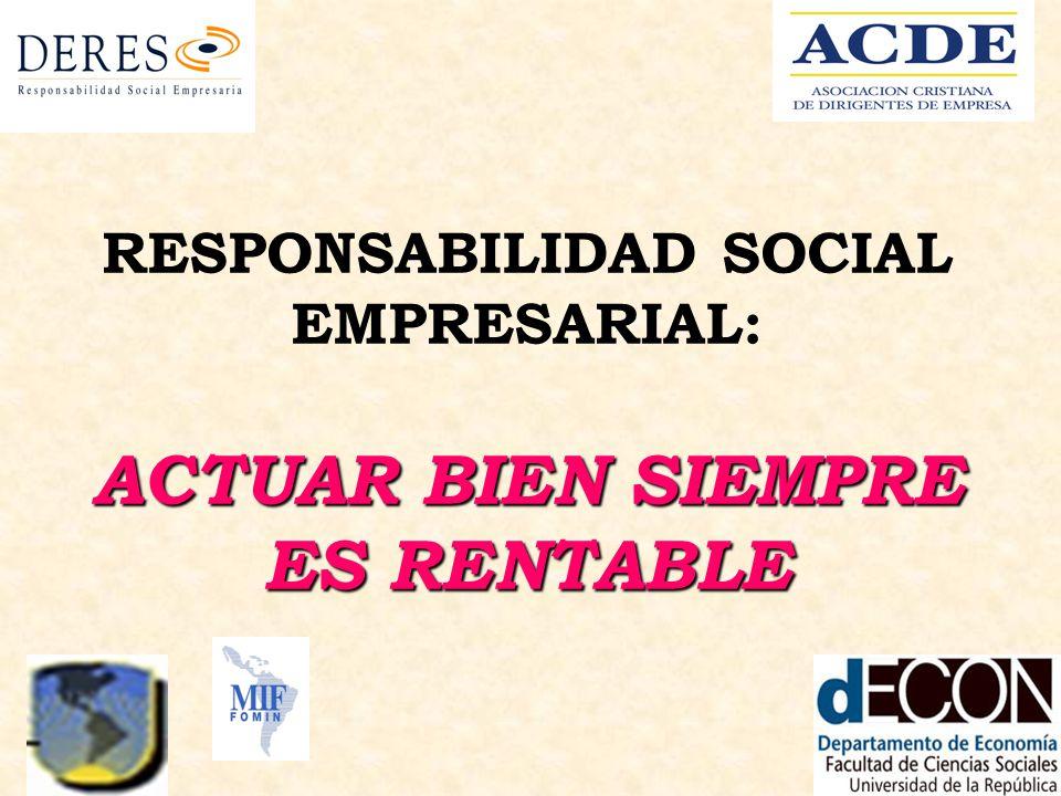 ACTUAR BIEN SIEMPRE ES RENTABLE RESPONSABILIDAD SOCIAL EMPRESARIAL: ACTUAR BIEN SIEMPRE ES RENTABLE