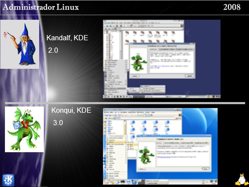 Administrador Linux 2008 Kandalf, KDE 2.0 Konqui, KDE 3.0