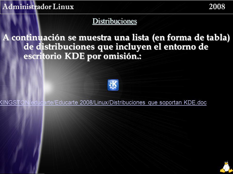 Administrador Linux 2008 Distribuciones A continuación se muestra una lista (en forma de tabla) de distribuciones que incluyen el entorno de escritorio KDE por omisión.: /media/KINGSTON/educarte/Educarte 2008/Linux/Distribuciones que soportan KDE.doc