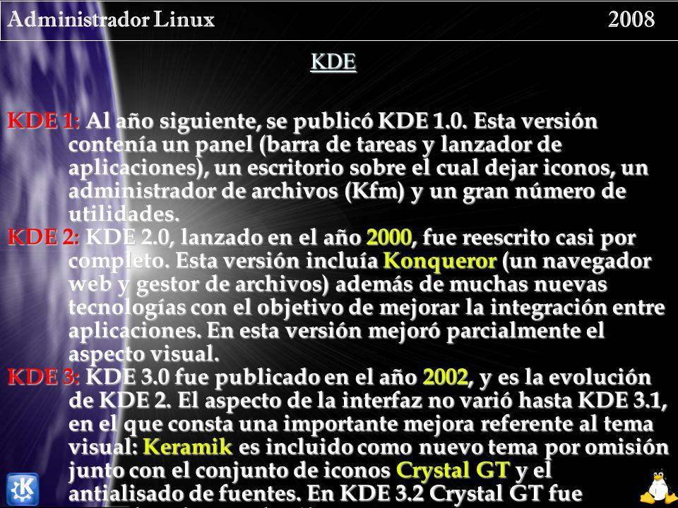Administrador Linux 2008 KDE KDE 1: Al año siguiente, se publicó KDE 1.0. Esta versión contenía un panel (barra de tareas y lanzador de aplicaciones),