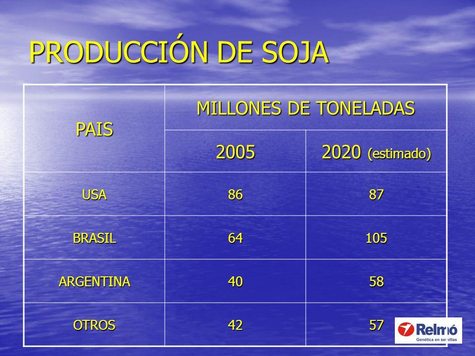 PRODUCCIÓN DE SOJA PAIS MILLONES DE TONELADAS 2005 2020 (estimado) USA8687 BRASIL64105 ARGENTINA4058 OTROS4257
