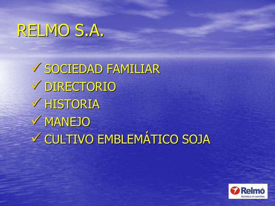 RELMO S.A. SOCIEDAD FAMILIAR SOCIEDAD FAMILIAR DIRECTORIO DIRECTORIO HISTORIA HISTORIA MANEJO MANEJO CULTIVO EMBLEMÁTICO SOJA CULTIVO EMBLEMÁTICO SOJA